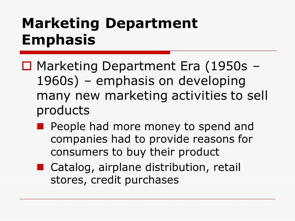 Marketing Department Emphasis