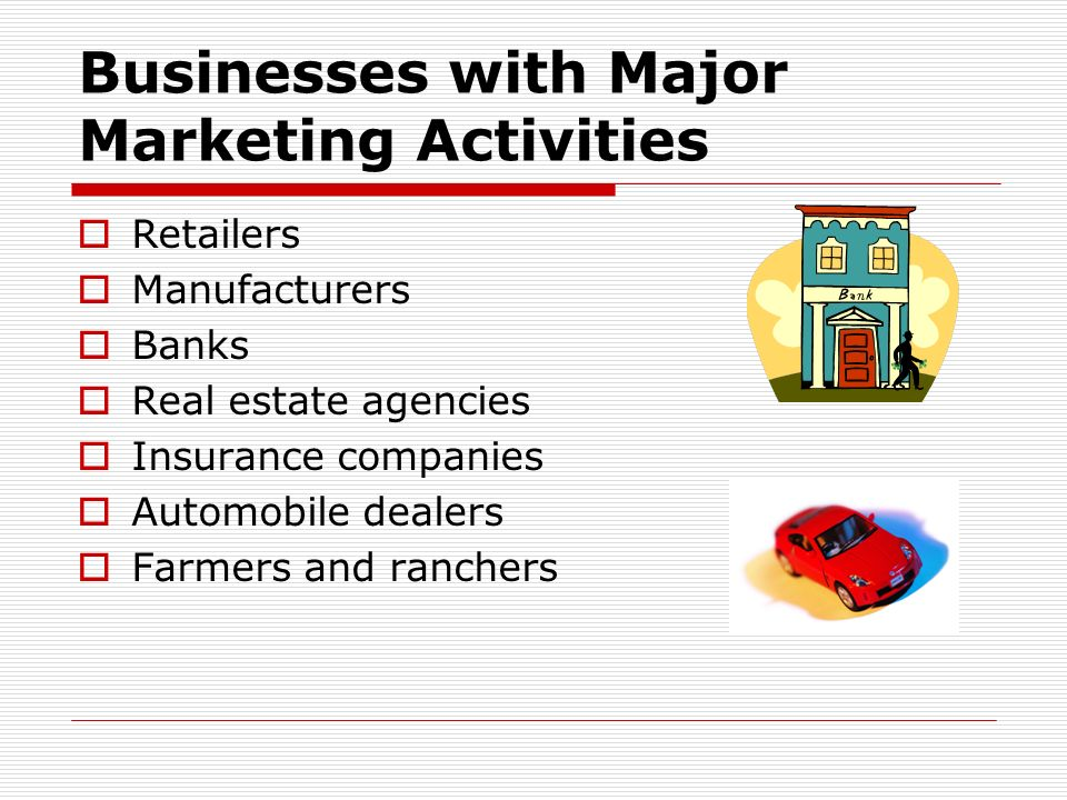 Businesses with Major Marketing Activities