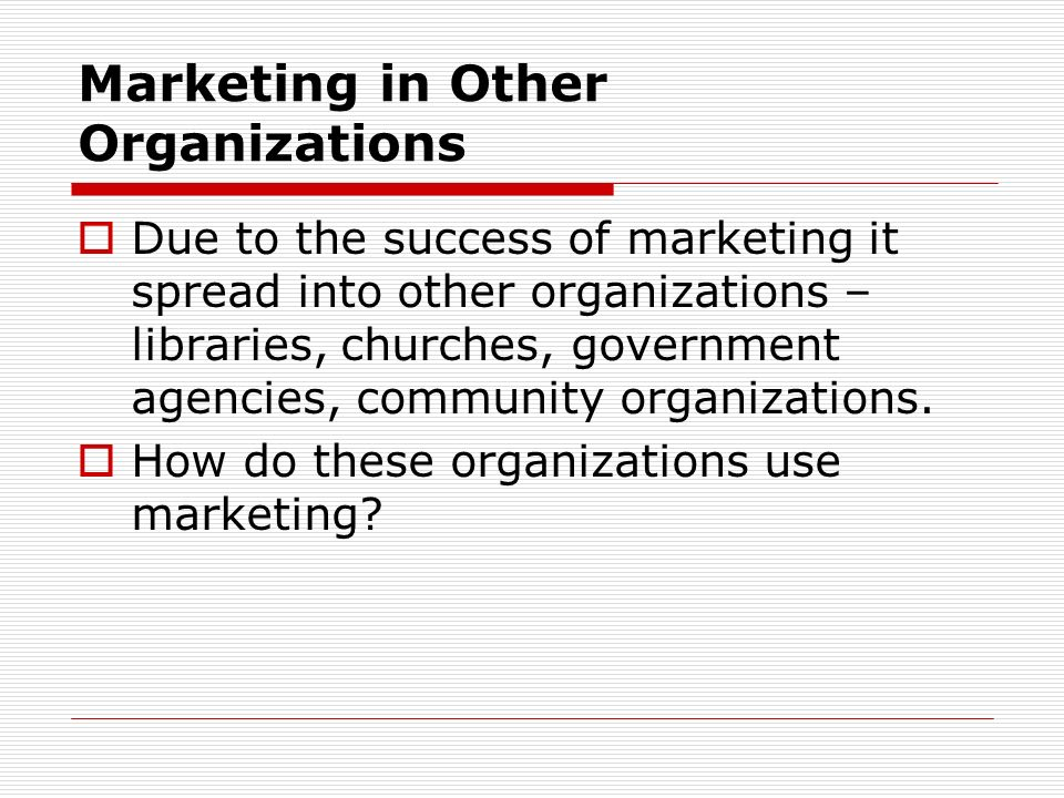 Marketing in Other Organizations