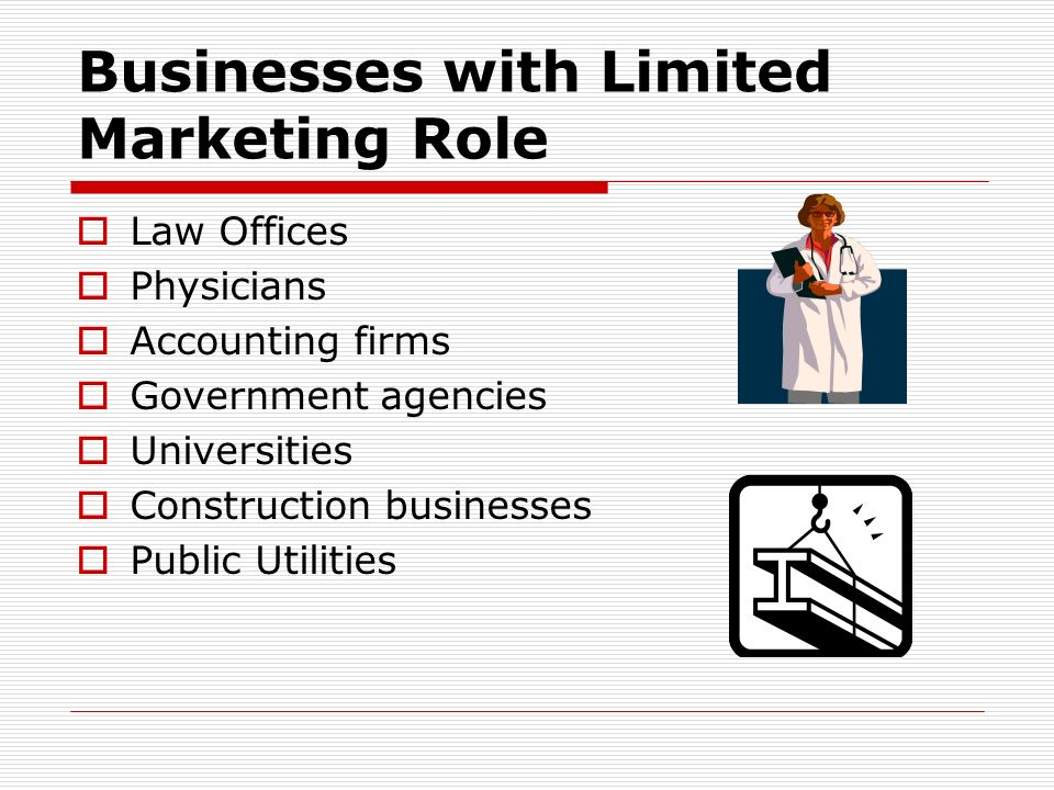 Businesses with Limited Marketing Role
