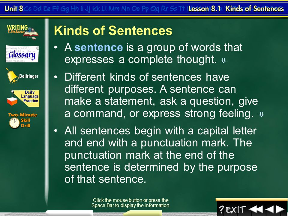 four different types of sentences