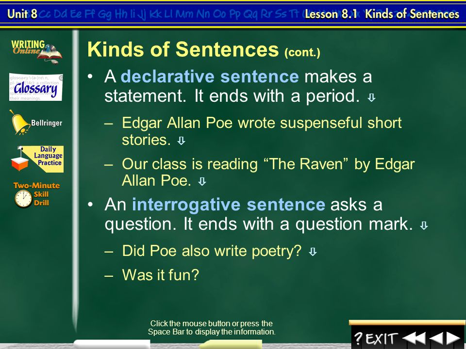 3 kinds of sentences