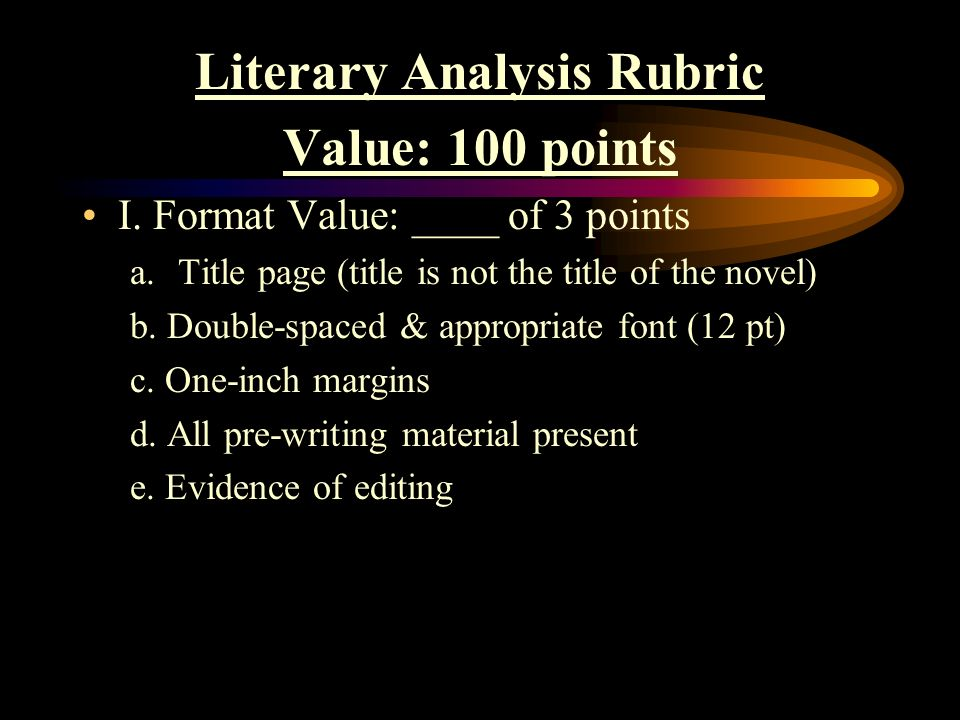 novel analysis format