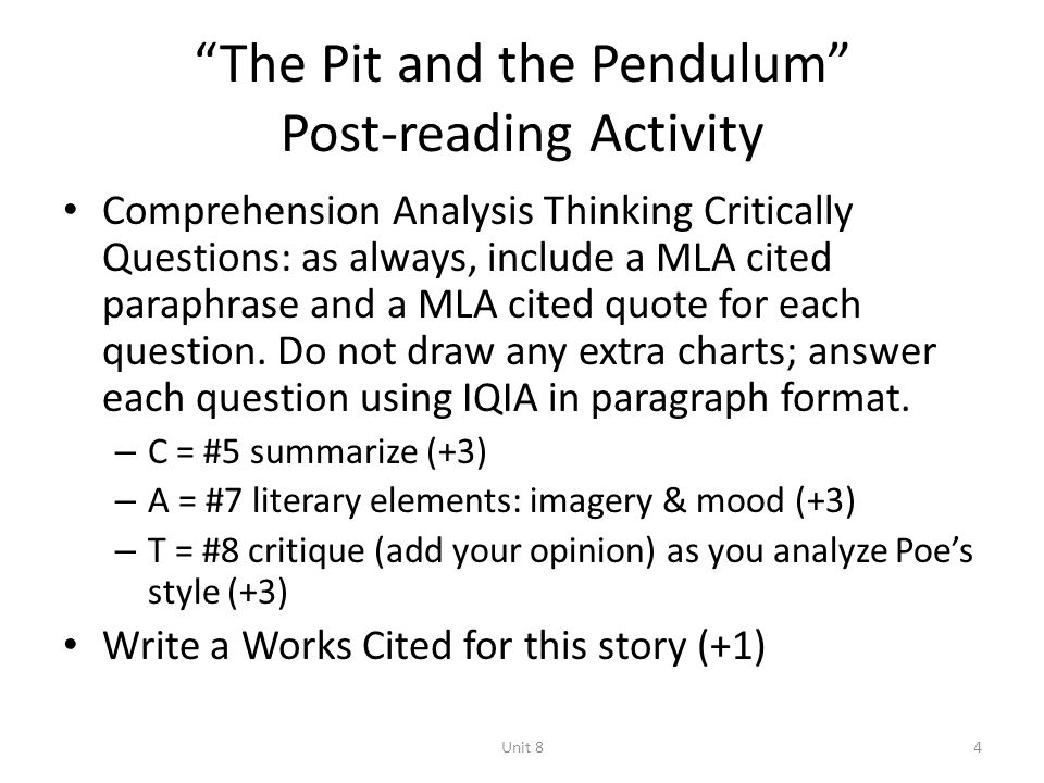 the pit and the pendulum literary analysis