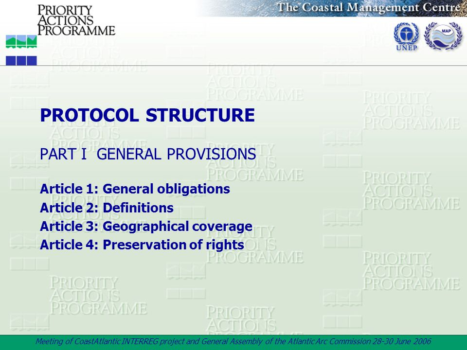 PROTOCOL STRUCTURE PART I GENERAL PROVISIONS