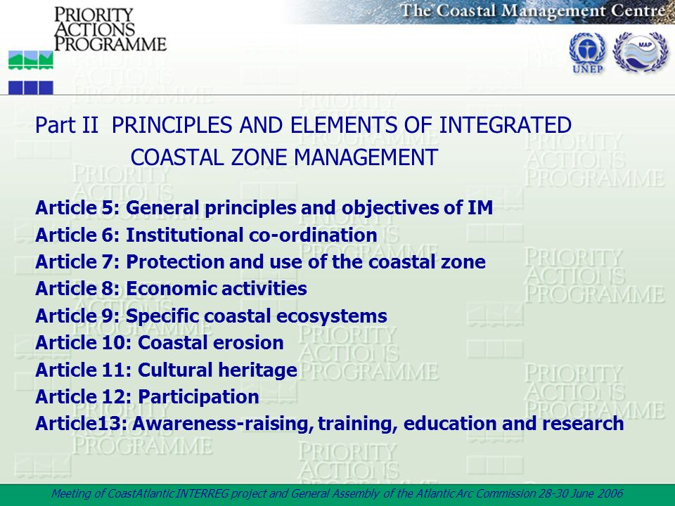 Part II PRINCIPLES AND ELEMENTS OF INTEGRATED COASTAL ZONE MANAGEMENT