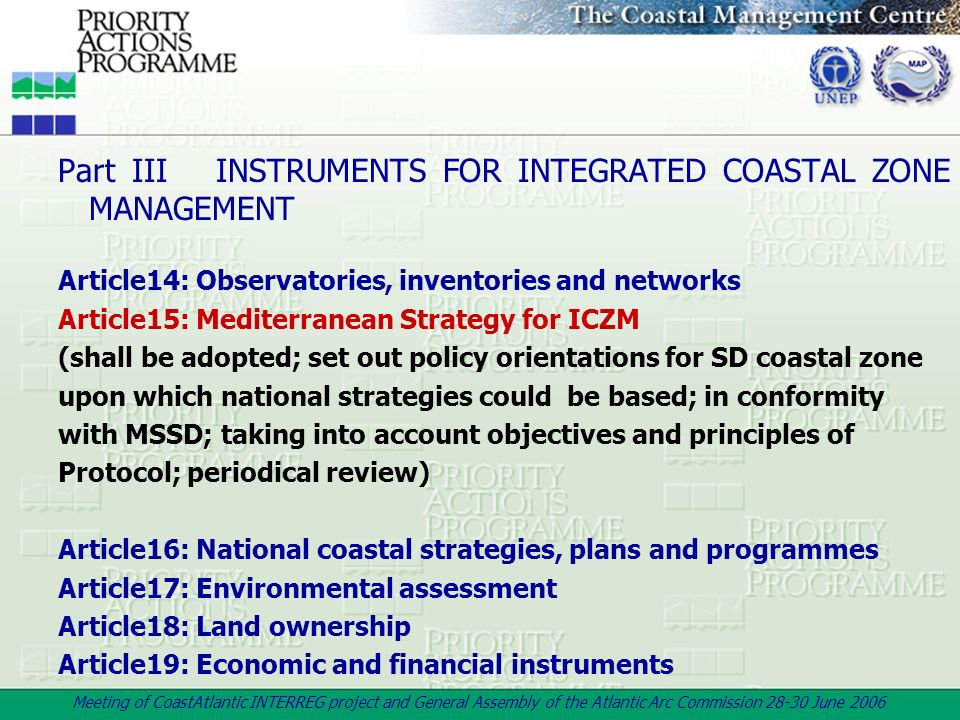 Part III INSTRUMENTS FOR INTEGRATED COASTAL ZONE MANAGEMENT