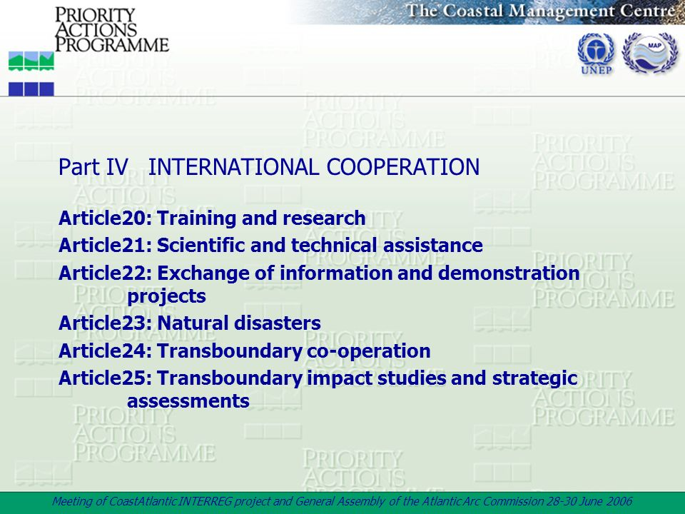 Part IV INTERNATIONAL COOPERATION