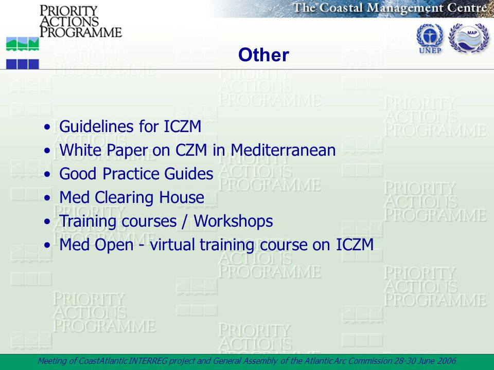 Other Guidelines for ICZM White Paper on CZM in Mediterranean