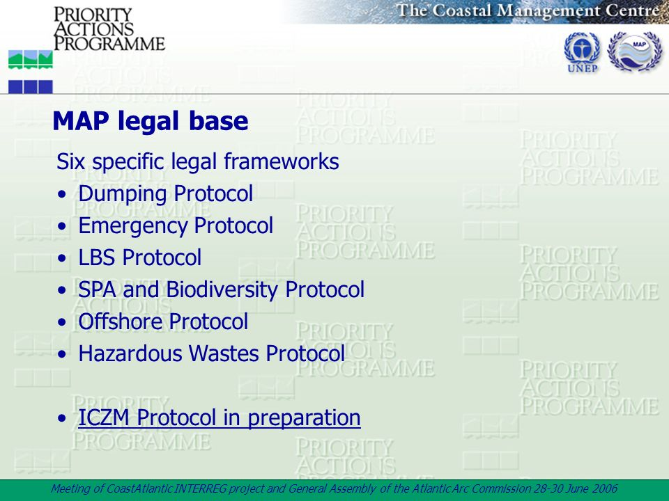 MAP legal base Six specific legal frameworks Dumping Protocol