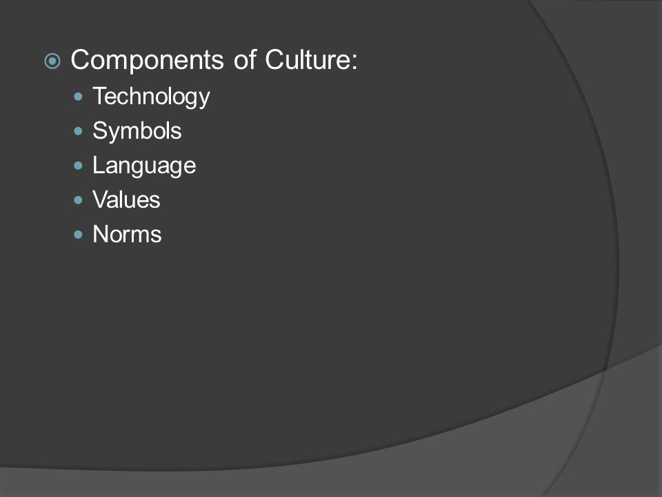 Components of Culture: