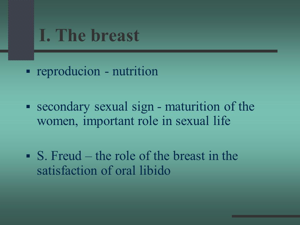 I. The breast reproducion - nutrition