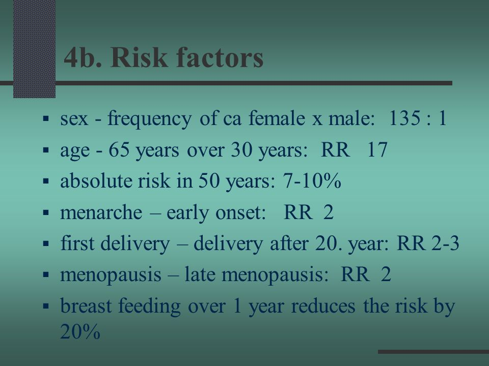 4b. Risk factors sex - frequency of ca female x male: 135 : 1