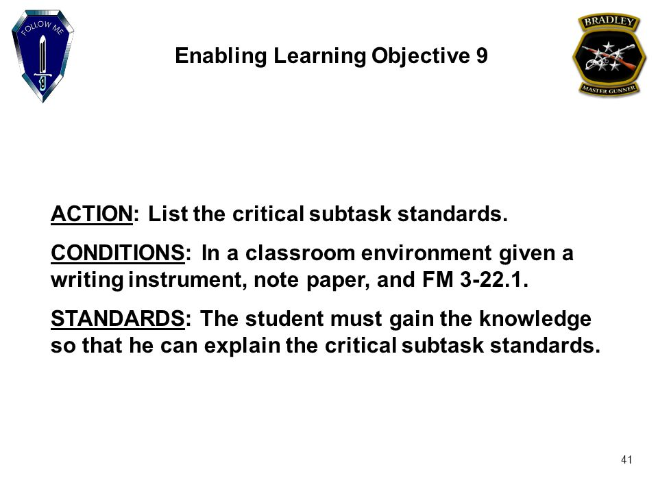 enabling learning objective 9