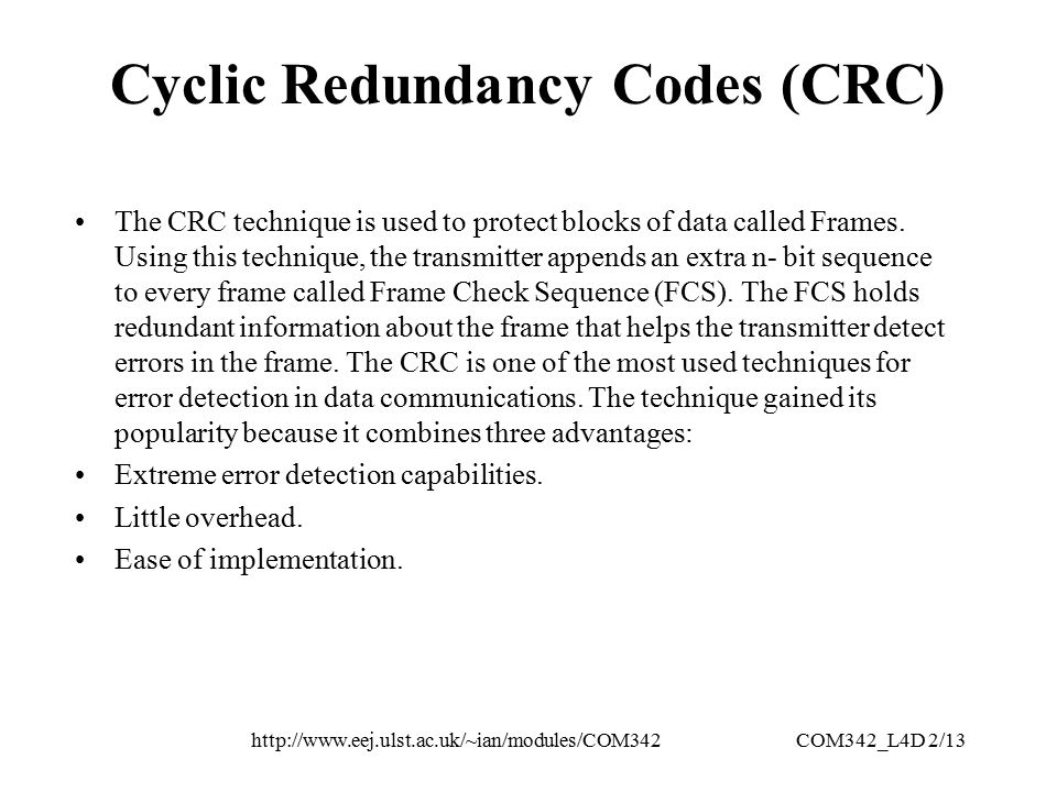 Cyclic Redundancy Codes Crc