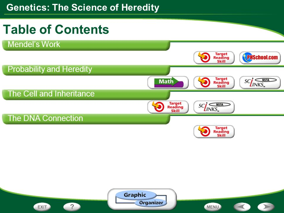 Table of Contents Mendel's Work Probability and Heredity