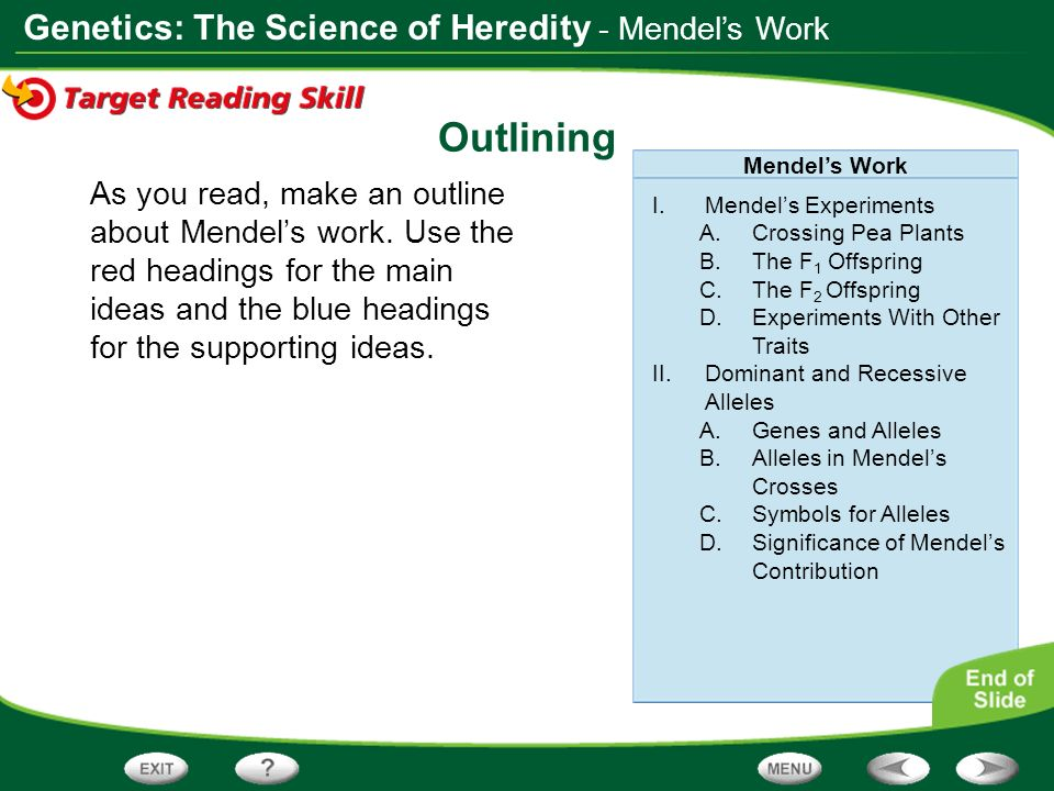 Outlining - Mendel's Work