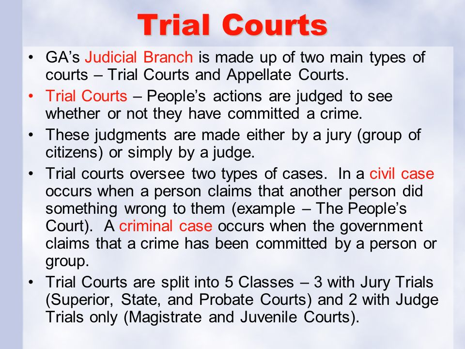 Trial Courts GA's Judicial Branch is made up of two main types of courts – Trial Courts and Appellate Courts.