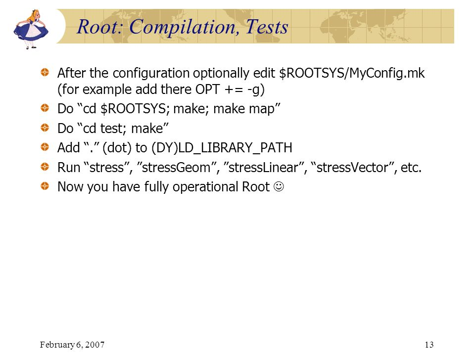 Root: Compilation, Tests