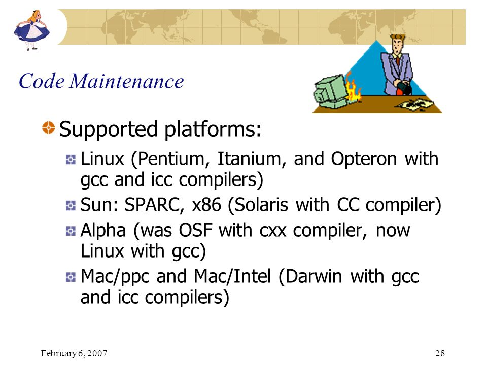 Code Maintenance Supported platforms: