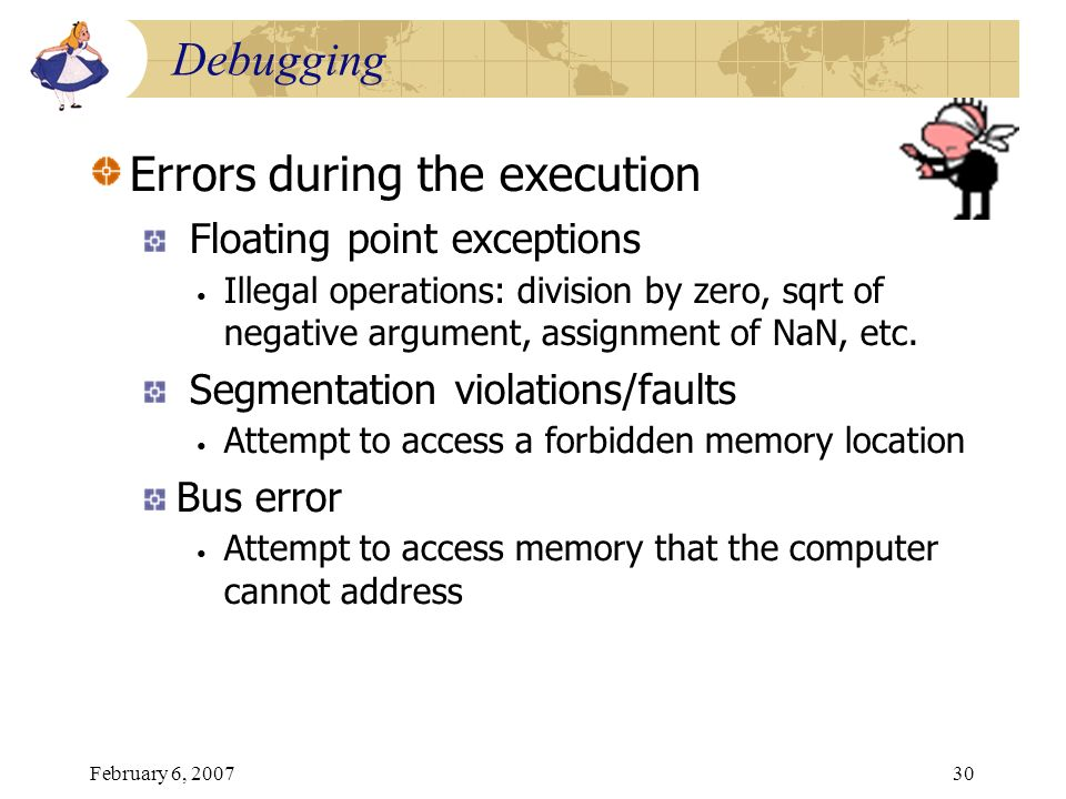 Errors during the execution