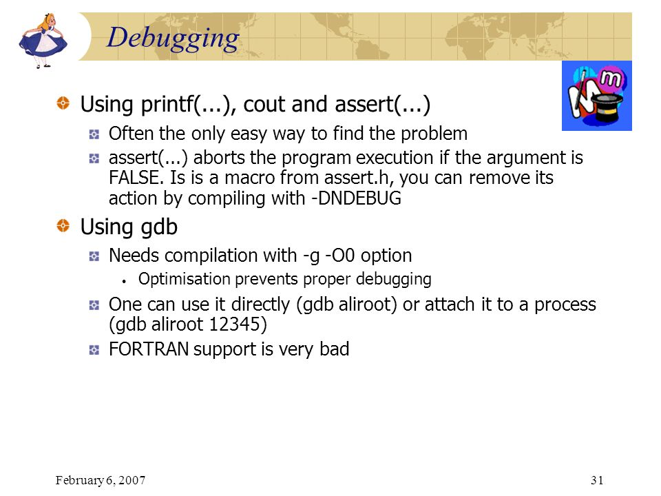 Debugging Using printf(...), cout and assert(...) Using gdb