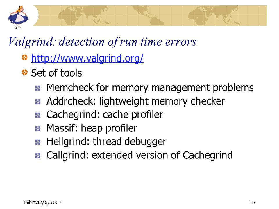Valgrind: detection of run time errors