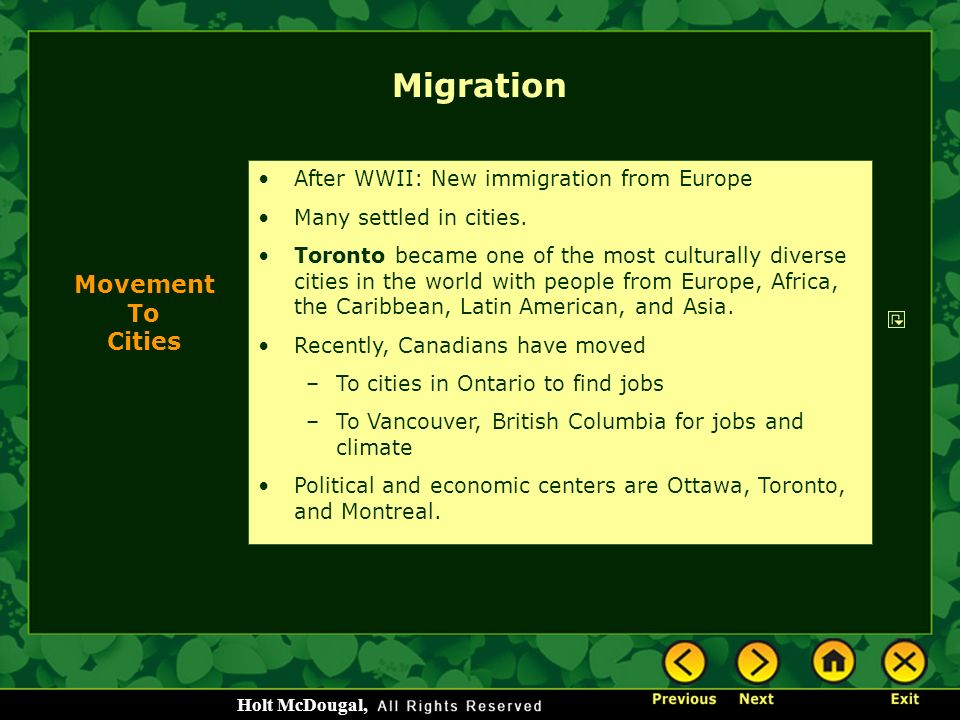 Migration Movement To Cities After WWII: New immigration from Europe