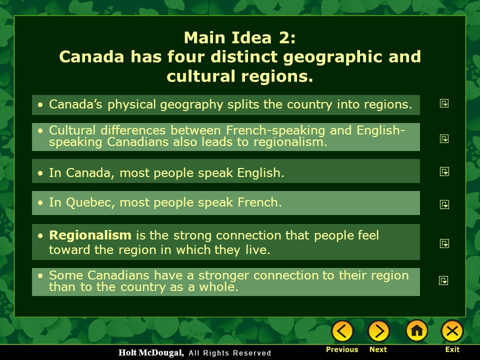 Main Idea 2: Canada has four distinct geographic and cultural regions.
