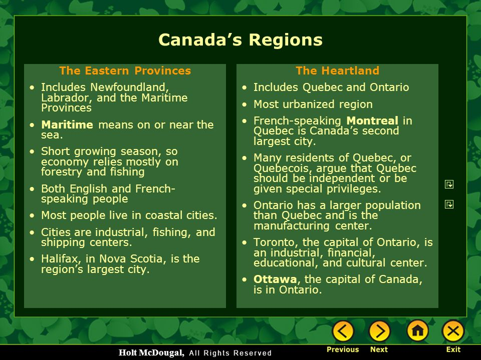 Canada's Regions The Eastern Provinces