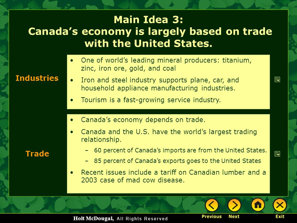 Main Idea 3: Canada's economy is largely based on trade with the United States.