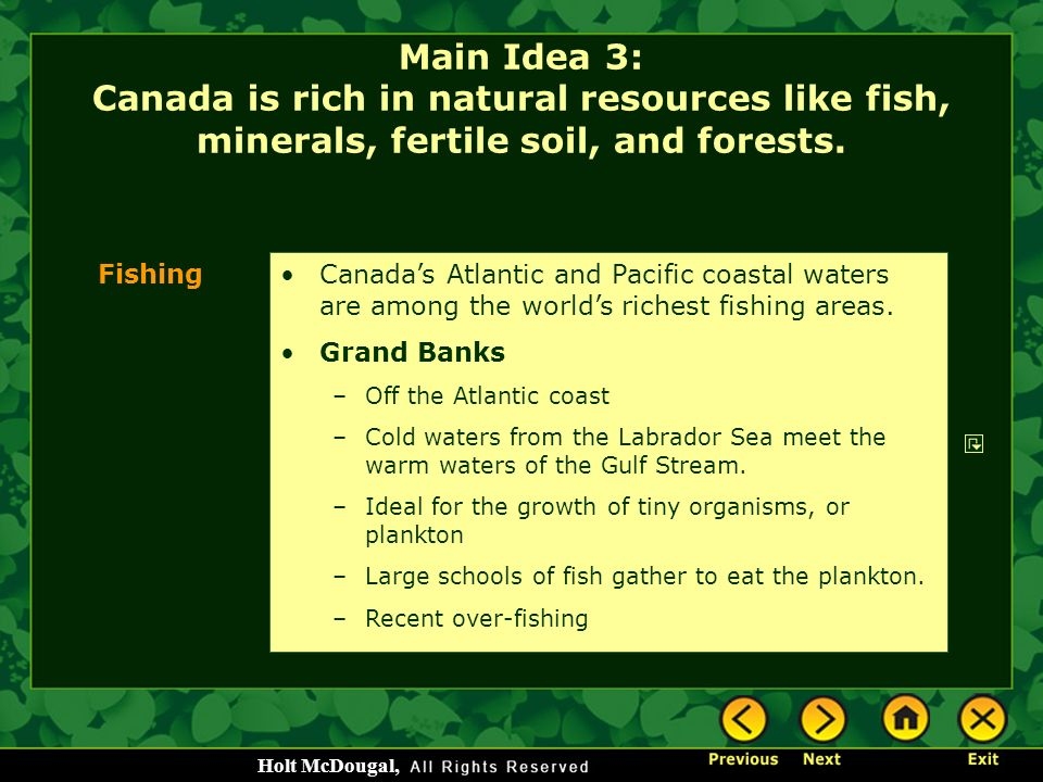 Main Idea 3: Canada is rich in natural resources like fish, minerals, fertile soil, and forests.
