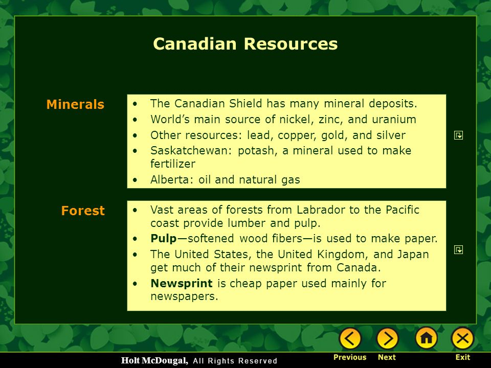 Canadian Resources Minerals Forest