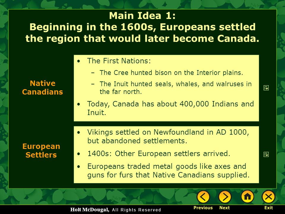 Main Idea 1: Beginning in the 1600s, Europeans settled the region that would later become Canada.