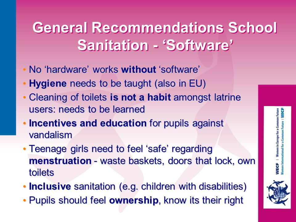 General Recommendations School Sanitation - 'Software'