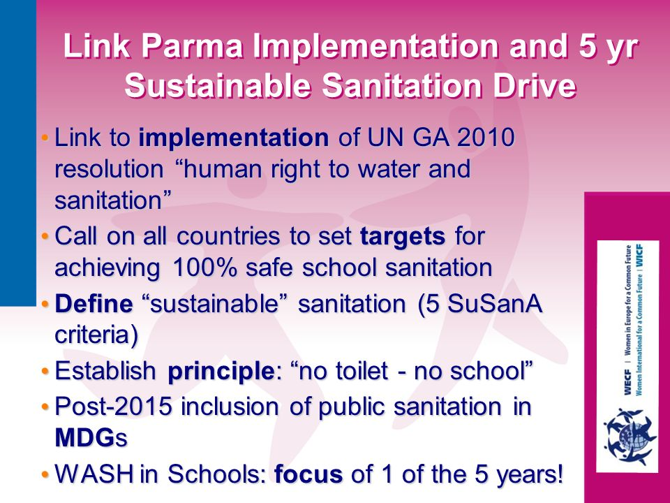 Link Parma Implementation and 5 yr Sustainable Sanitation Drive