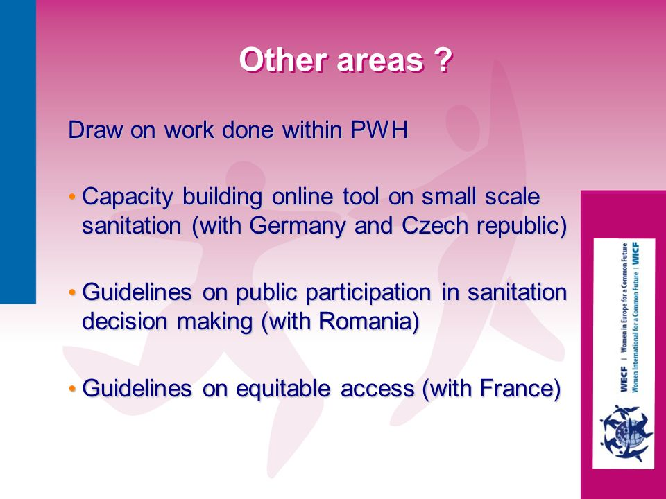 Other areas Draw on work done within PWH