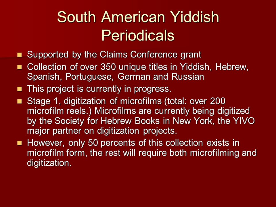 South American Yiddish Periodicals