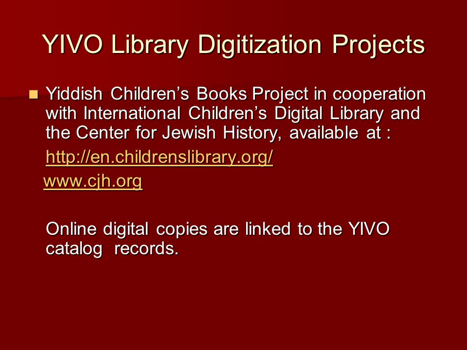 YIVO Library Digitization Projects