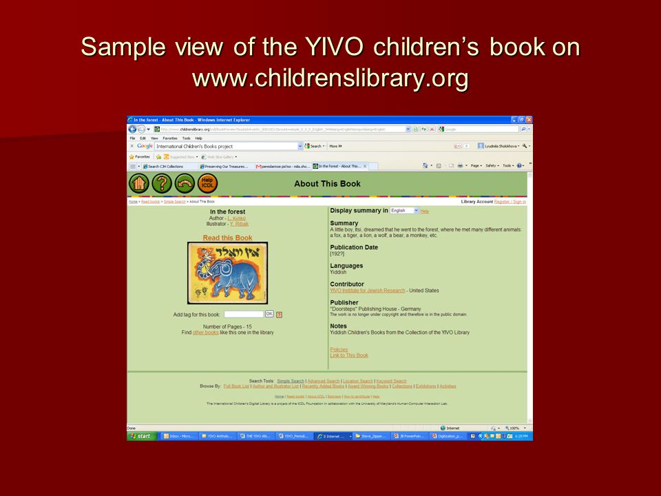 Sample view of the YIVO children's book on www.childrenslibrary.org