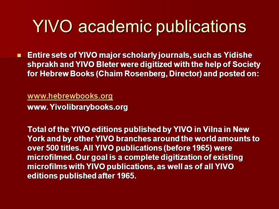 YIVO academic publications