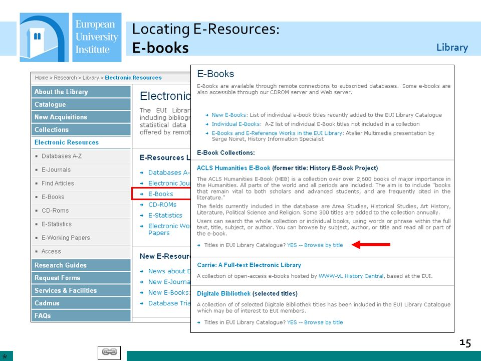 Locating E-Resources: E-books