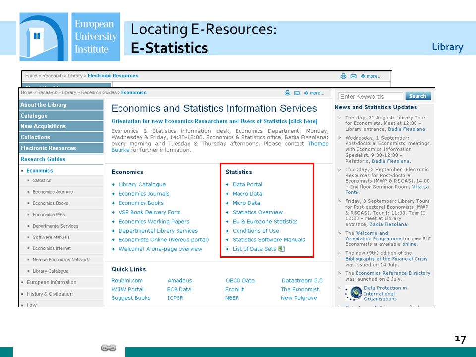 Locating E-Resources: E-Statistics
