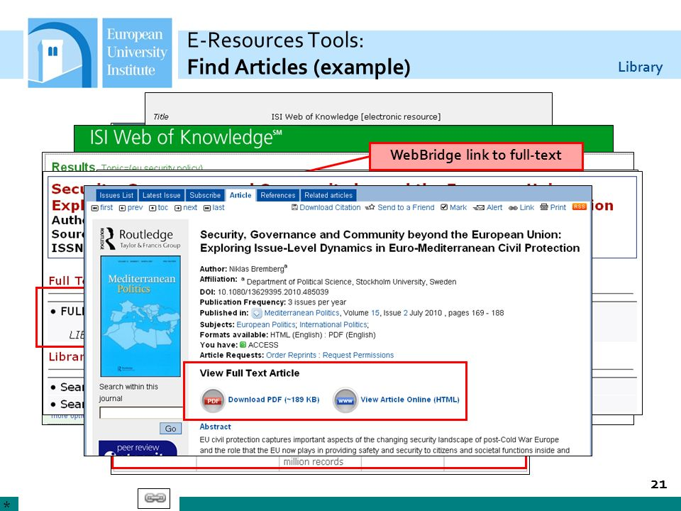 E-Resources Tools: Find Articles (example)