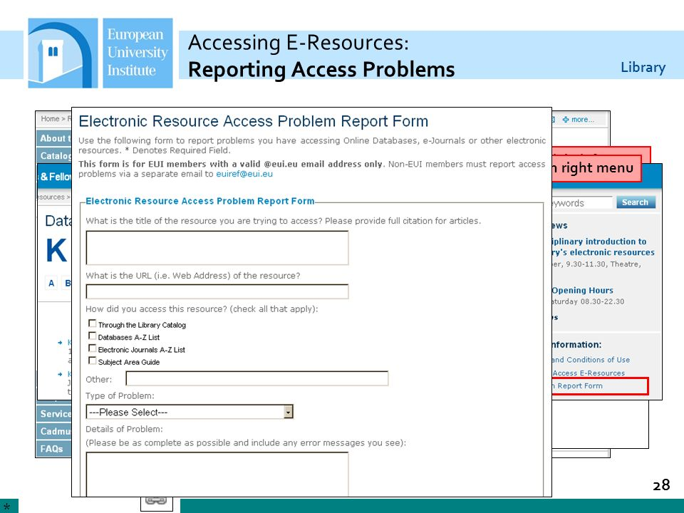 Accessing E-Resources: Reporting Access Problems