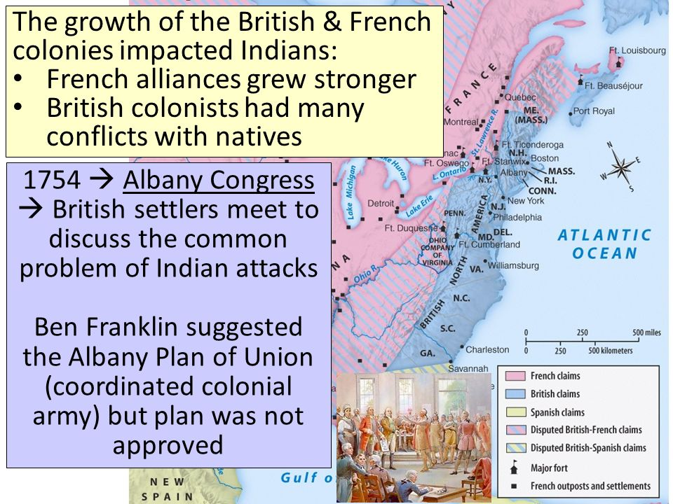 The growth of the British & French colonies impacted Indians: