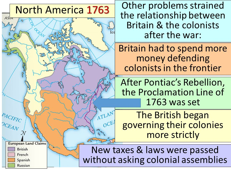 Other problems strained the relationship between Britain & the colonists after the war: