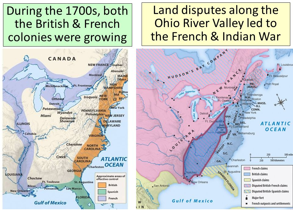 During the 1700s, both the British & French colonies were growing