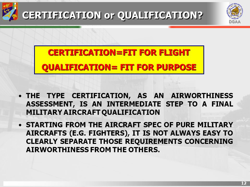 CERTIFICATION=FIT FOR FLIGHT QUALIFICATION= FIT FOR PURPOSE