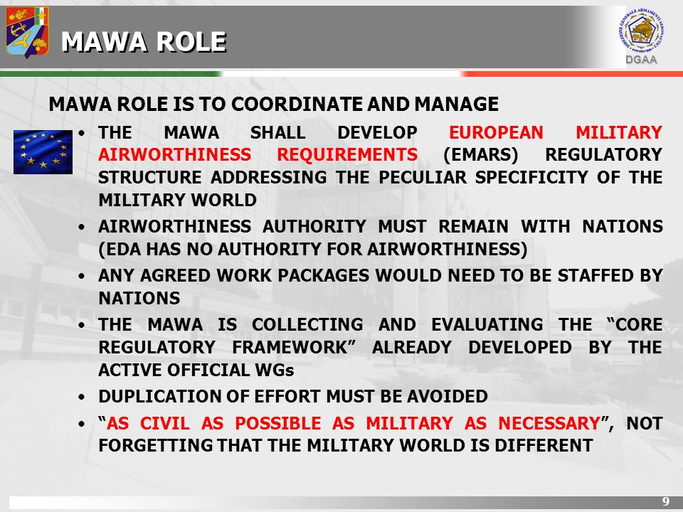 MAWA ROLE MAWA ROLE IS TO COORDINATE AND MANAGE